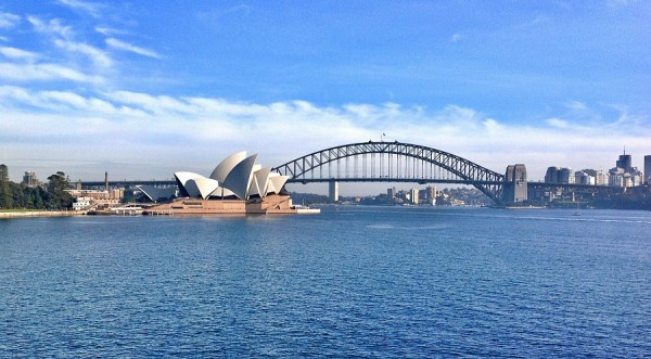 Postcard view Sydney from Mrs Macquarie's Point by Paula Morgan