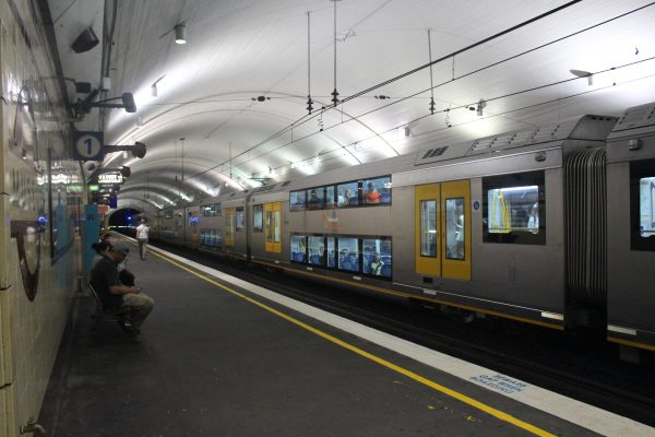 Train at Museum station in the city circle an integral part of Sydney Public Transport