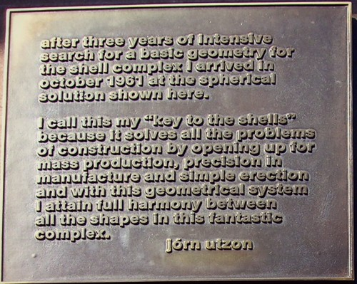 utzon sydney opera house plaque