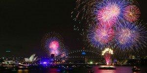 Sydney Harbour fireworks Ferry view