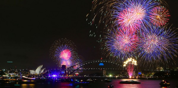 Sydney Harbour fireworks Ferry view