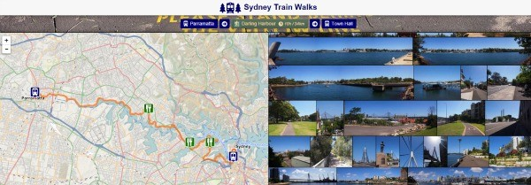 sydney walks by train