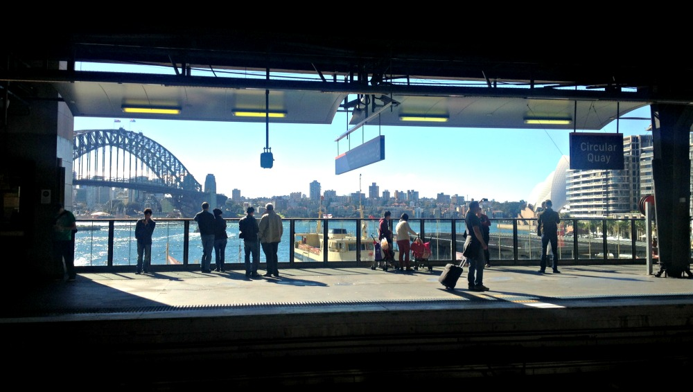 best stop on the Sydney airport train - view from Circular Quay Platform