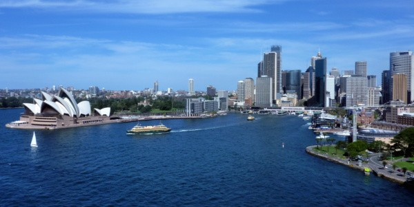 View of the Sydney from the Harbour Bridge