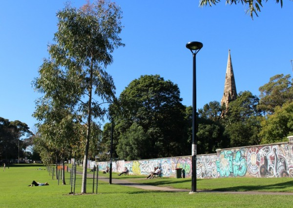 The wall at Camperdown park in Newtown