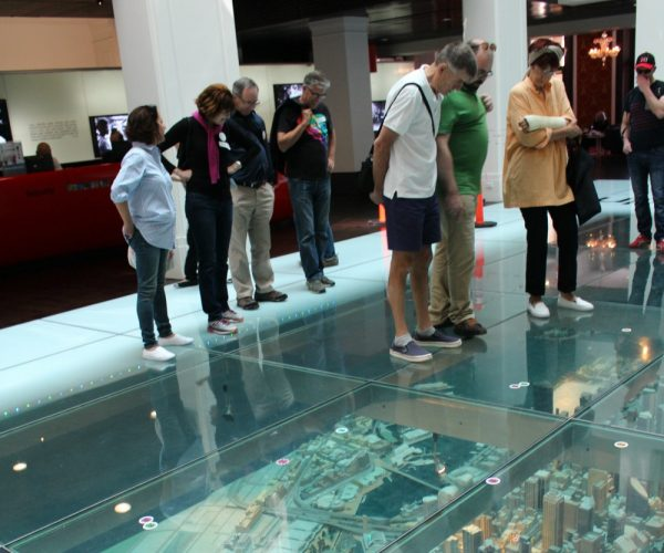 City 3d model under glass