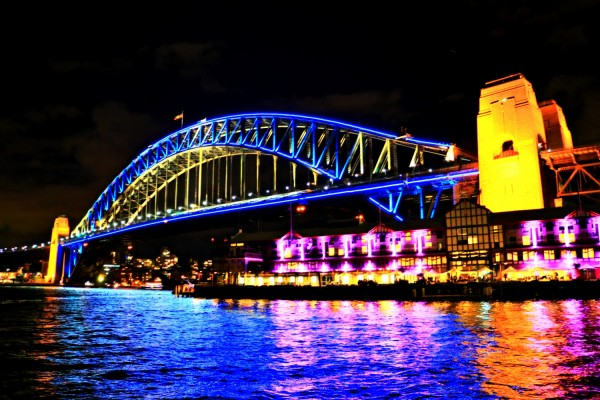 West side Sydney Harbour Bridge Vivid Festival Sydney