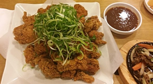 Korean fried chicken with spring onions