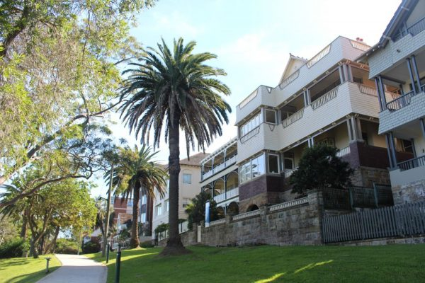 Homes converted into apartments along Cremorne Point walking path