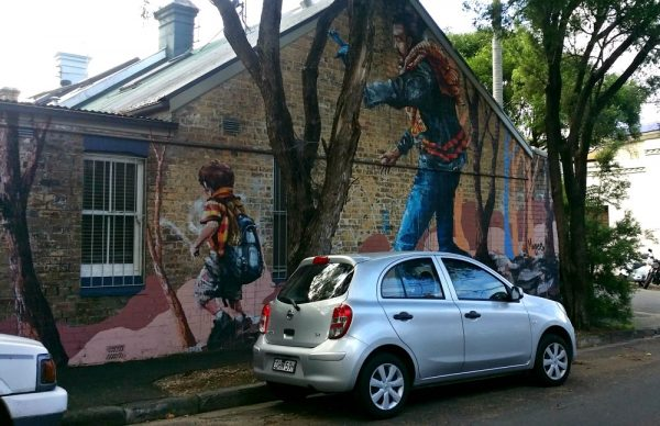 Fintan Magee Mural Sydney The Hikers