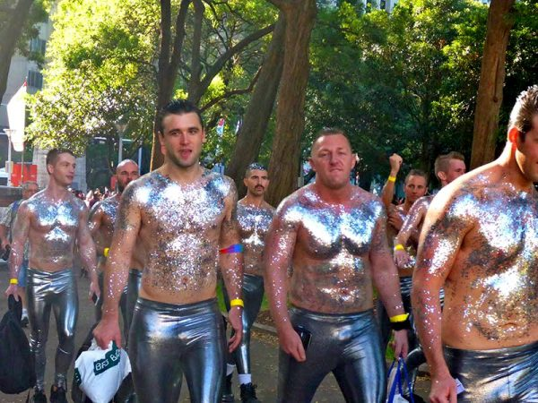 Geeting ready to march in the Sydney Mardi Gras