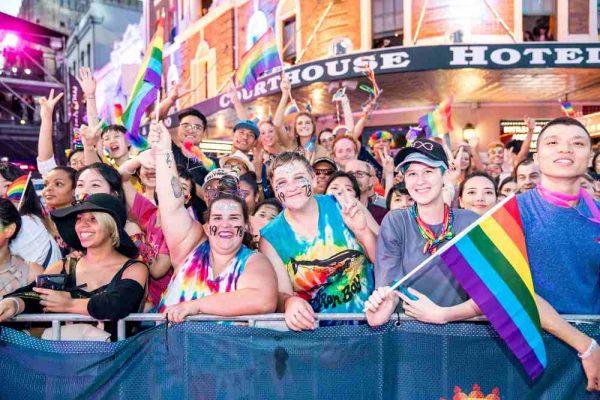 Mardi Gras Sydney Crowd outside pub on parade route