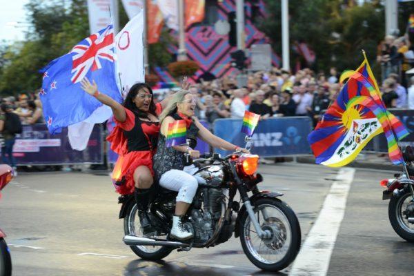 Sydney Gay and Lesbian Mardi Gras two women on a bike by Jeffrey Fong