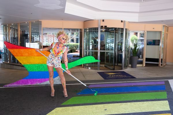 A 3 metre rainbow crossing will be painted on the driveway of Pullman Sydney Hyde Park