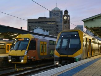 2 Sydney Trains at Central Train Station in Sydney