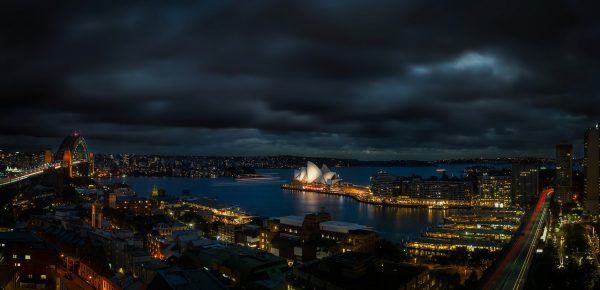 Sydney harbour view at night