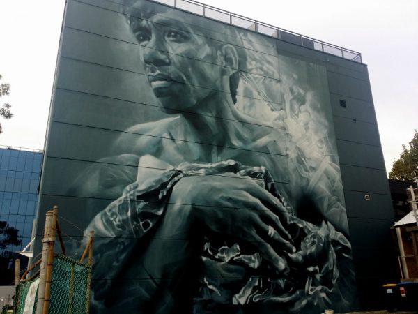 Guido Van Helton mural Wollongong in Coombe St