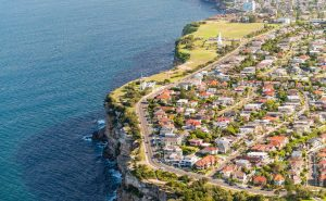 Aerial view of Sydney coastline, Australia.