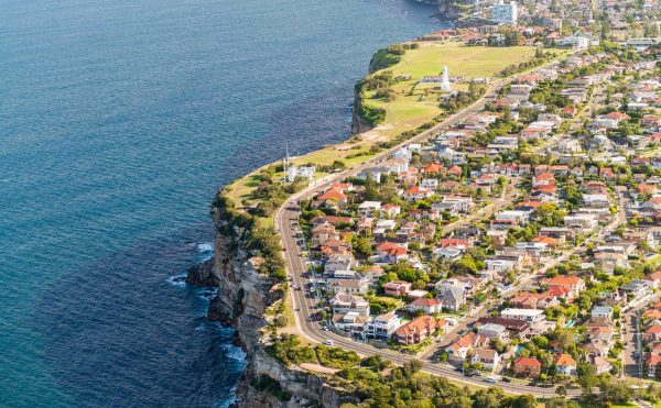 Aerial view of Sydney coastline at Watsons Bay