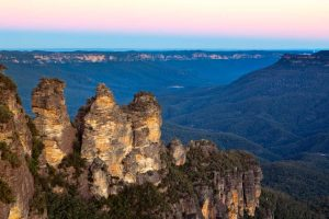 The Three Sisters, Blue Mountains, New South Wales, Australia, at sunset.