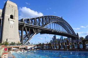 North Sydney Olympic Pool under Sydney Harbour Bridge