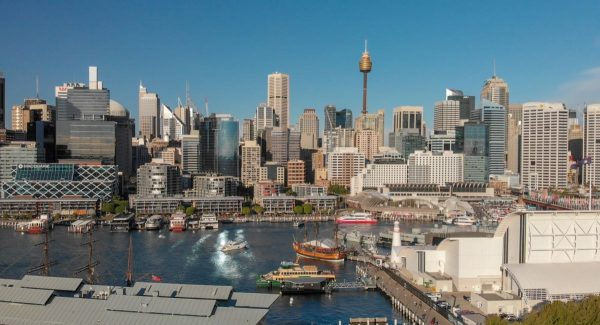 View of Darling Harbour and Kings St Wharf Sydney Australia