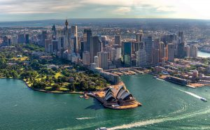 Aerial view of Sydney Harbor and Downtown Skyline, Australia.