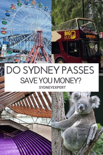 4 images of Sydney attractions with text overlay do sydney passes save you money