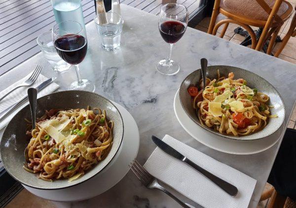 Pasta and wine at Brokenback Bar