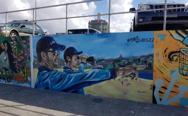 Bondi Lifeguards on the Graffiti wall bondi beach