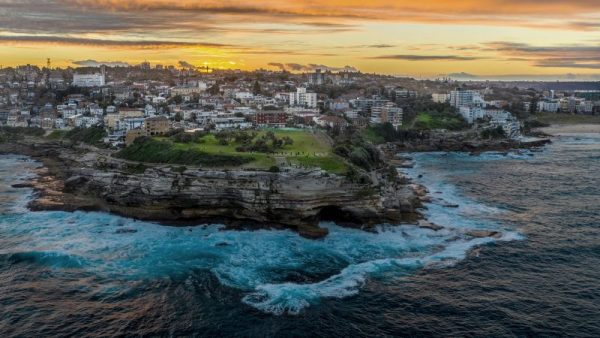 Drone footage of Bondi coastal walk