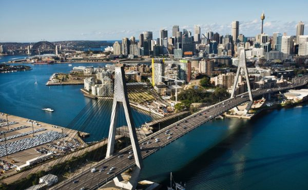 Aerial view of Anzac Bridge and buildings in Sydney, Australia.
