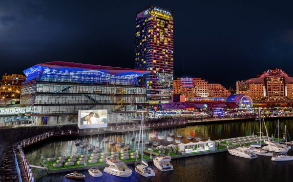 Darling Harbour Floating Cinema is a great way to spend valentines day in sydney