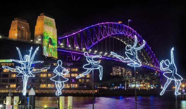 Sydney Harbour Bridge with Ballerina installation during Vivid Sydney