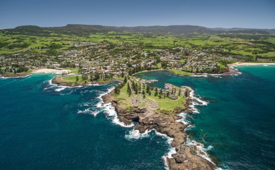 Aerial view of Blowhole Point headland, Kiama.