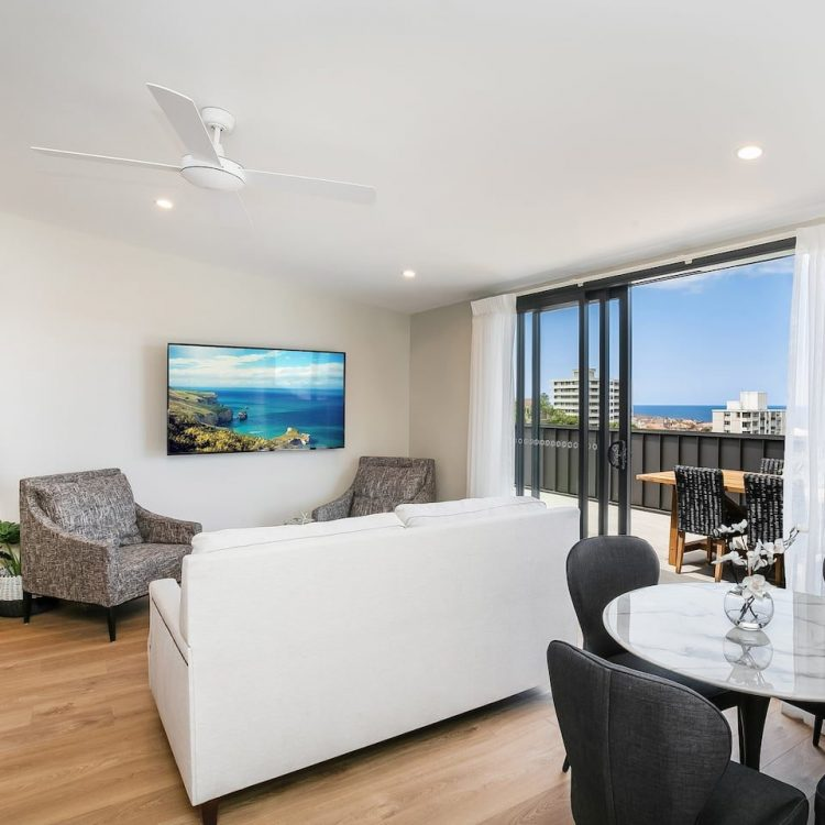 Living room in Manly Airbnb with view