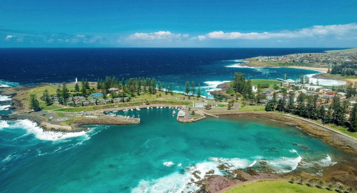 Aerial overlooking Kiama Harbour and the Continental Ocean Pool in Kiama.