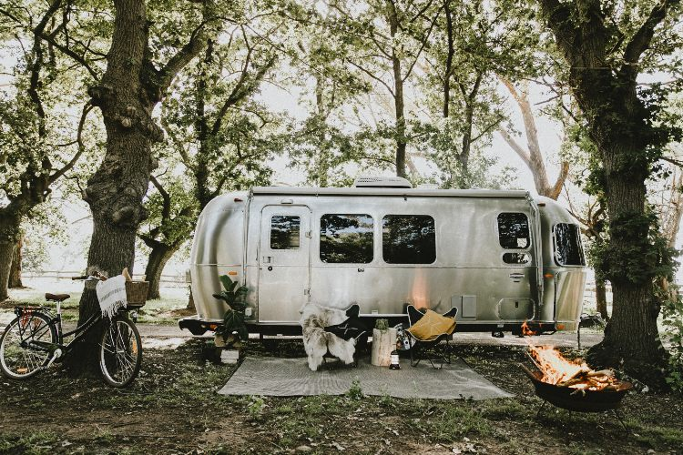 Silver caravan called One Lazy Sunday