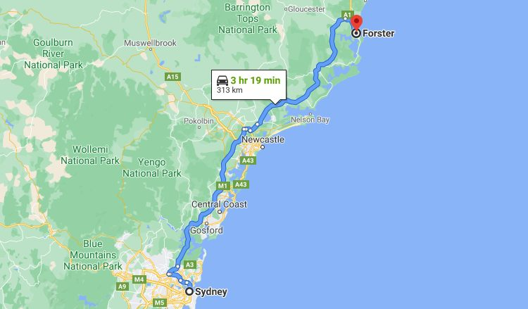 Sydney to Forster Map