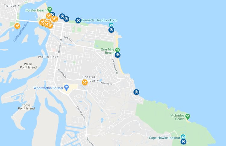 Forster NSW Attractions map