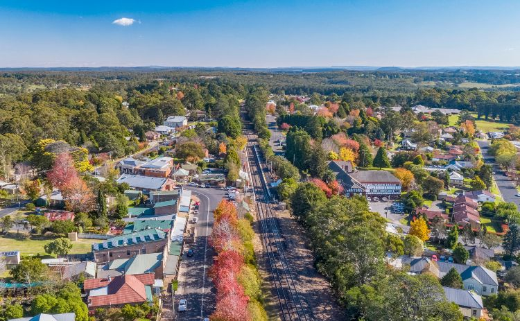 Aerial overlooking the town of Bundanoon in the Southern Highlands